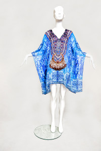 BLUE TREASURES EMBELLISHED KAFTAN - front