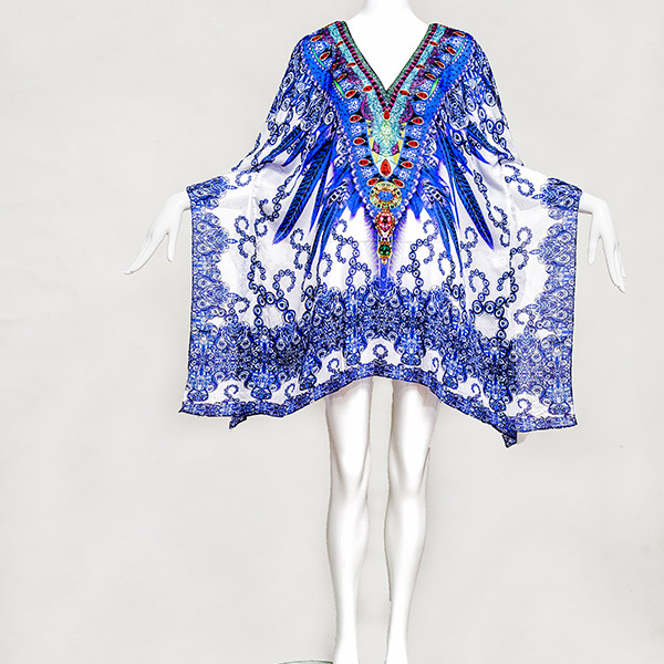 INDIAN BLUE FEATHER embellished, Buy Kaftan Online, kaftans under $99, Kaftans sale, kaftans online