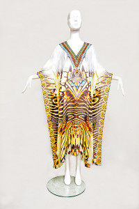 LONG EXOTIC TIGER EMBELLISHED KAFTAN - front