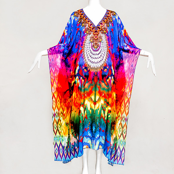 LONG WILDLIFE EMBELLISHED KAFTAN - front