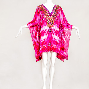 PRETTY IN HOT PINK EMBELLISHED KAFTAN - front