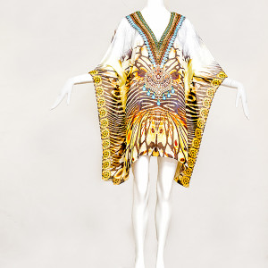 SHORT EXOTIC TIGER EMBELLISHED KAFTAN - front